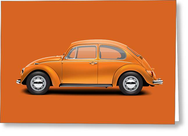 1967 Volkswagen Sedan - Custom Metallic Orange Greeting Card by Ed Jackson