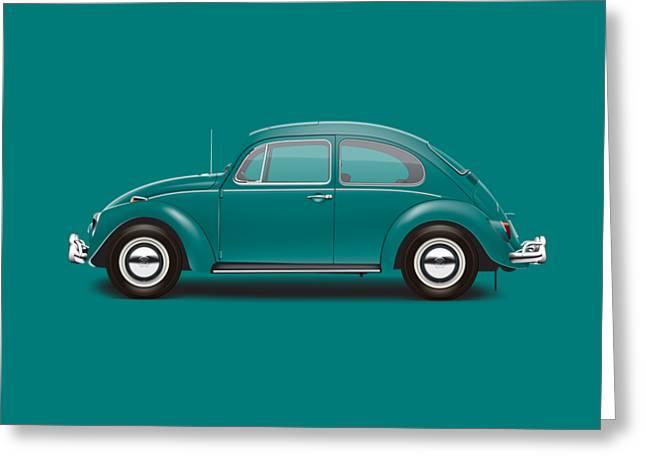 1967 Volkswagen Sedan - Java Green Greeting Card by Ed Jackson