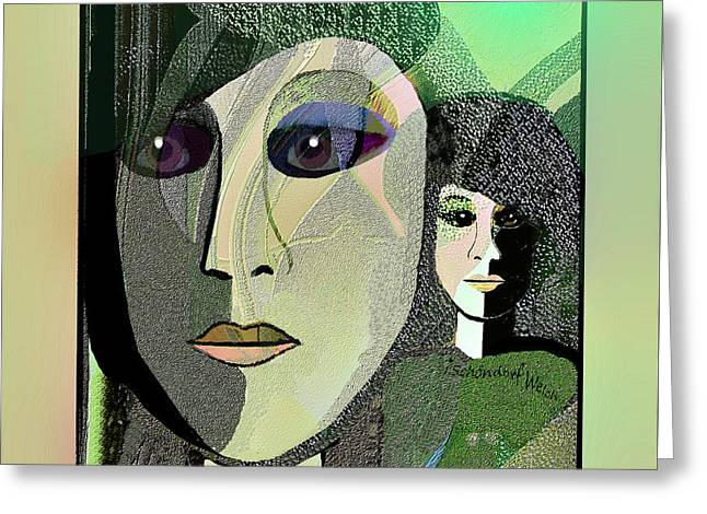 Greeting Card featuring the digital art 1968 - A Dolls Head by Irmgard Schoendorf Welch