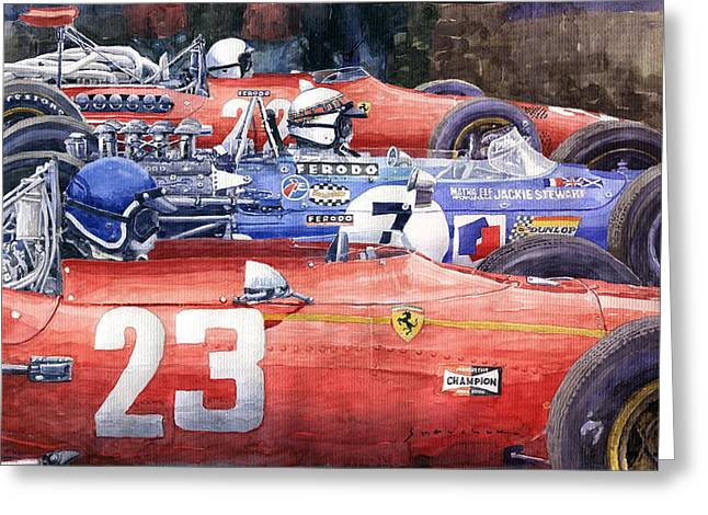 1968 Belgie Gp Spa Ickx Amon Ferrari 312 Stewart Matra Cosworth M15 Greeting Card by Yuriy Shevchuk