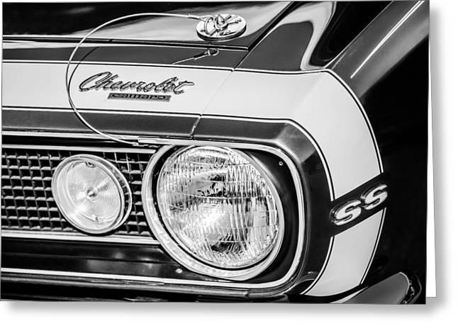 1968 Chevrolet Yenko Super Camaro Hood Emblem -1785bw Greeting Card by Jill Reger