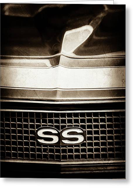 1968 Chevrolet Yenko Super Camaro Ss Grille Emblem -1745s Greeting Card by Jill Reger