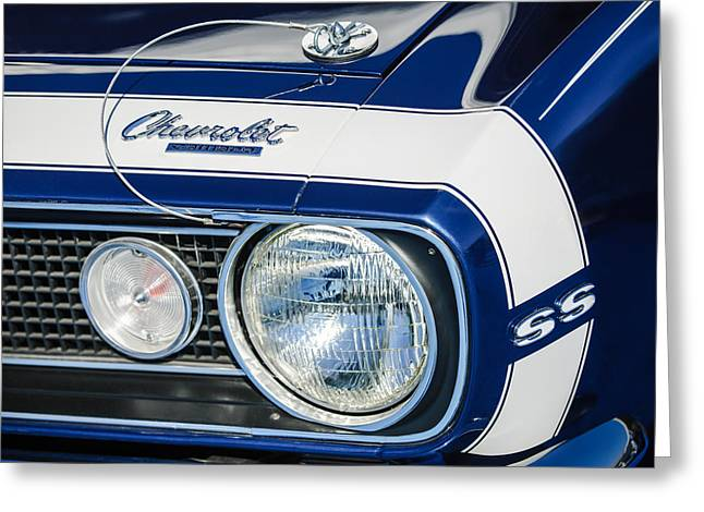 1968 Chevrolet Yenko Super Camaro Ss Hood Emblem -1785c Greeting Card by Jill Reger
