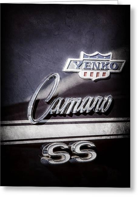1968 Chevrolet Yenko Super Camaro Ss Side Emblem -1762ac Greeting Card by Jill Reger