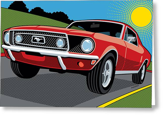 Greeting Card featuring the digital art 1968 Ford Mustang Sunday Cruise by Ron Magnes