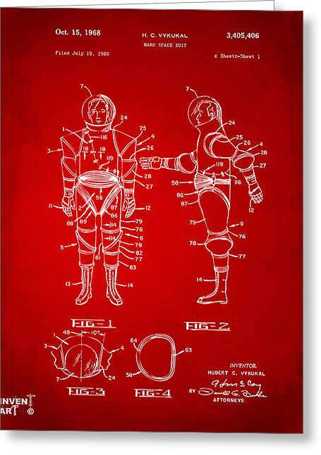 Space Man Greeting Cards - 1968 Hard Space Suit Patent Artwork - Red Greeting Card by Nikki Marie Smith