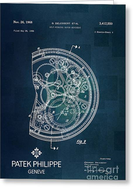 1968 Patek Philippe Patent 1 Greeting Card by Nishanth Gopinathan