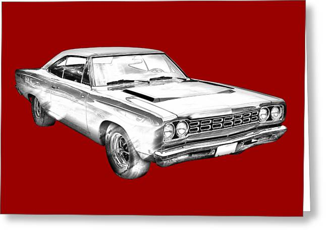1968 Plymouth Roadrunner Muscle Car Illustration Greeting Card by Keith Webber Jr