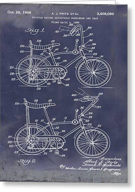 1968 Schwinn Stingray Patent In Blueprint Greeting Card by Bill Cannon
