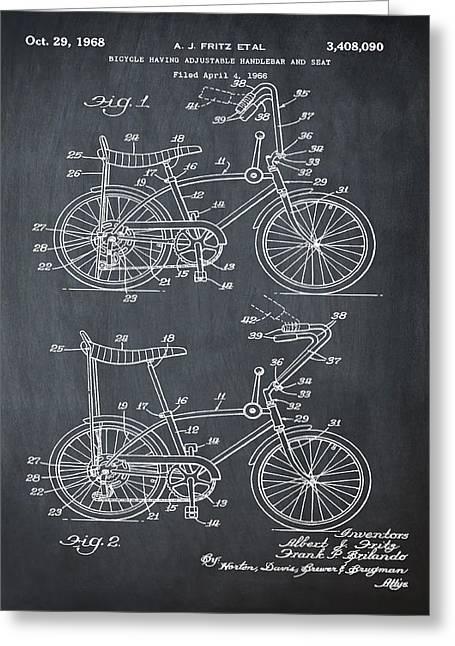 1968 Schwinn Stingray Patent In Chalk Greeting Card