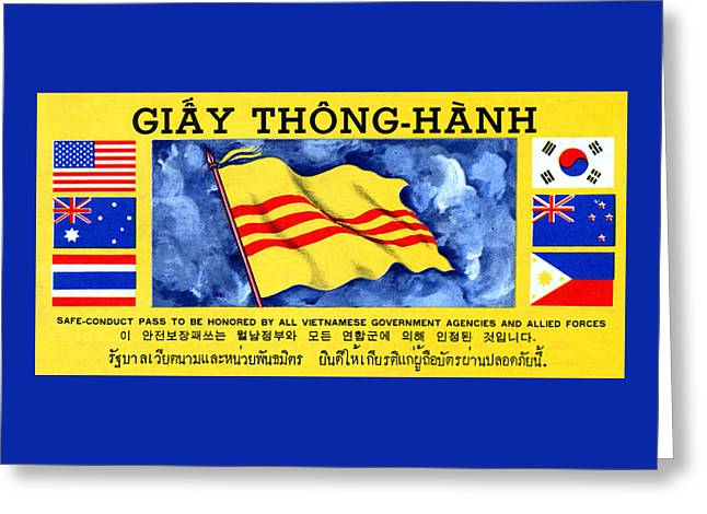 1968 Vietnam War Safe Conduct Pass Greeting Card by Historic Image