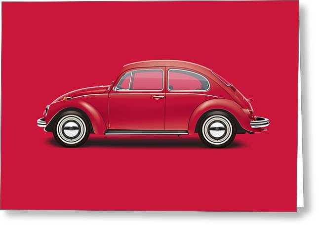 1968 Volkswagen Sedan - Royal Red Greeting Card by Ed Jackson