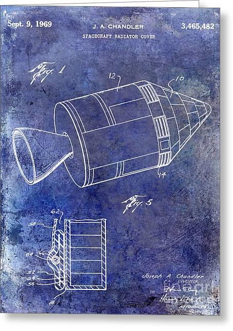 1969 Apollo Spacecraft Patent Blue Greeting Card by Jon Neidert