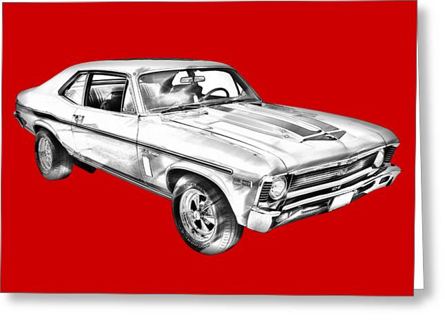 1969 Chevrolet Nova Yenko 427 Muscle Car Illustration Greeting Card
