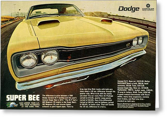 1969 Dodge Coronet Super Bee Greeting Card by Digital Repro Depot