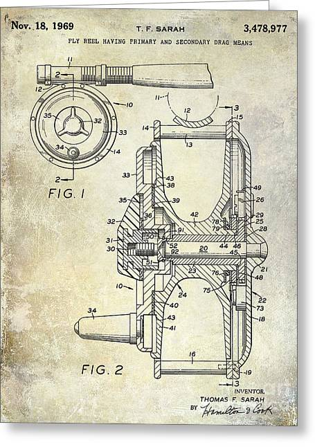 1969 Fly Reel Patent Greeting Card by Jon Neidert