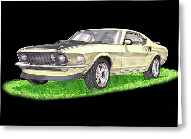 1969 Ford Mustang Fastback Greeting Card by Jack Pumphrey