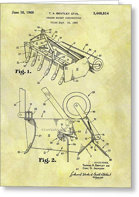 1969 Grader Bucket Patent Greeting Card by Dan Sproul