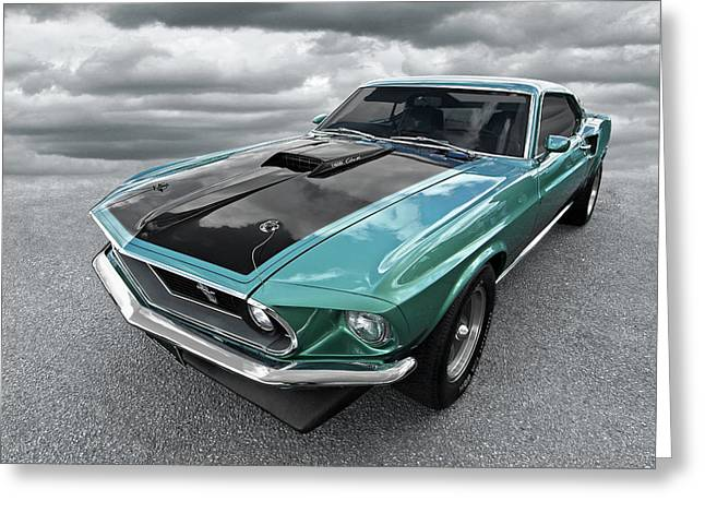 1969 Green 428 Mach 1 Cobra Jet Ford Mustang Greeting Card
