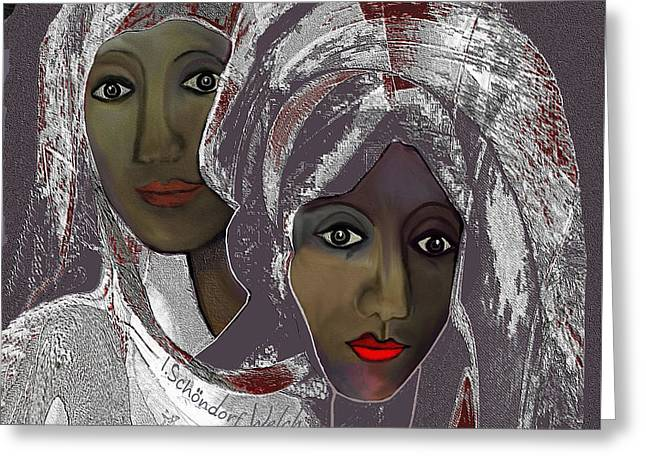 Greeting Card featuring the digital art 1969 -  White Veils by Irmgard Schoendorf Welch