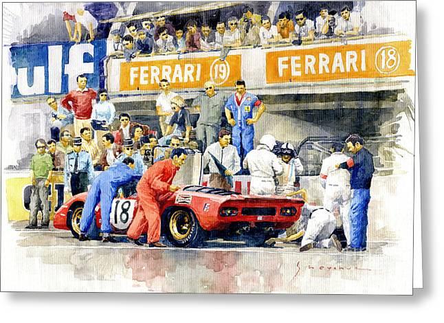 1969 Le Mans 24 Ferrari 312p Pedro Rodriguez  David Piper Greeting Card