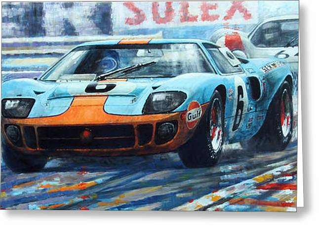 1969 Le Mans 24 Ford Gt 40 Ickx Oliver Winner  Greeting Card by Yuriy Shevchuk