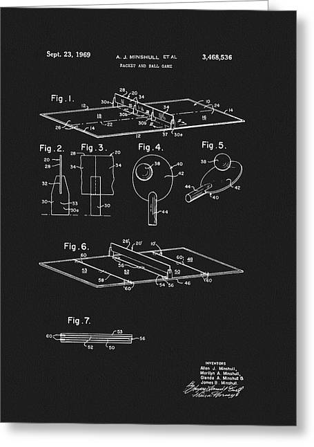 1969 Ping Pong Table Patent Greeting Card by Dan Sproul