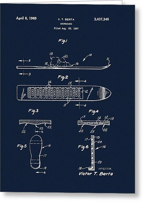 1969 Snowboard Patent Navy Blue Greeting Card
