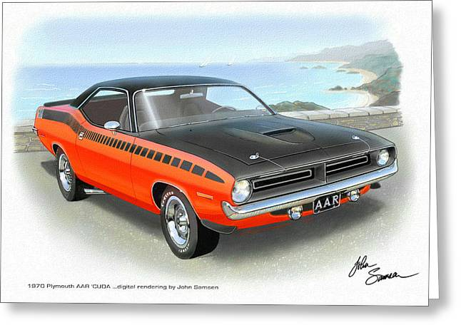1970 Barracuda Aar  Cuda Classic Muscle Car Greeting Card