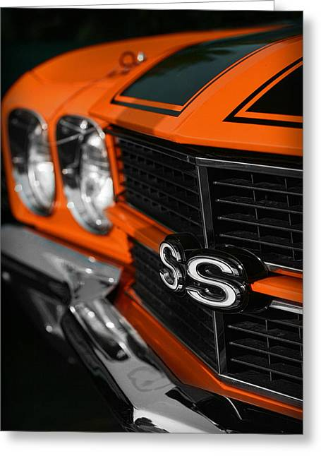 1970 Chevelle Ss396 Ss 396 Orange Greeting Card by Gordon Dean II