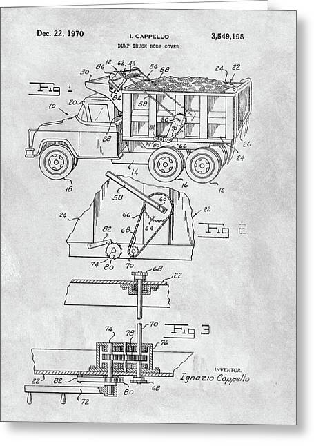 1970 Dump Truck Cover Patent Greeting Card