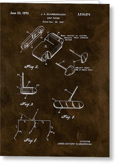1970 Golf Putter Patent Greeting Card by Dan Sproul