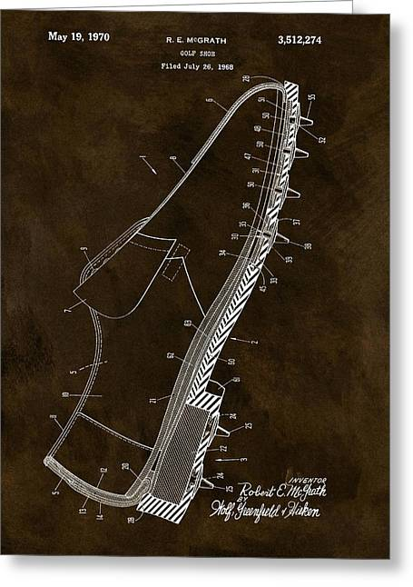 1970 Golf Shoe Patent Greeting Card by Dan Sproul