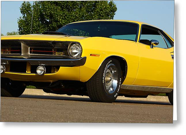 1970 Hemi 'cuda - Lemon Twist Yellow Greeting Card