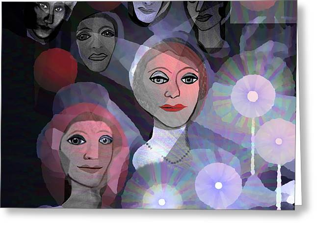 Greeting Card featuring the digital art 1970 - A Ceremony by Irmgard Schoendorf Welch