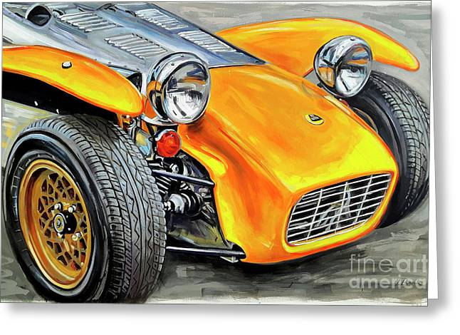 1970 Lotus Super Seven Greeting Card by Leigh Banks