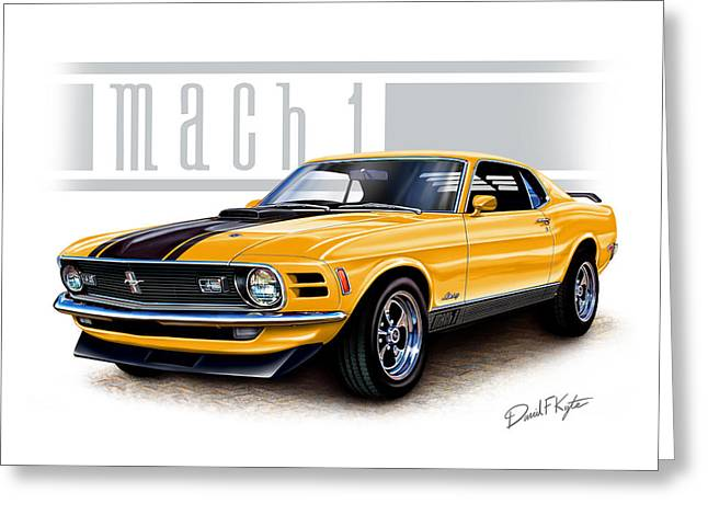 1970 Mustang Mach 1 In Yellow Greeting Card by David Kyte