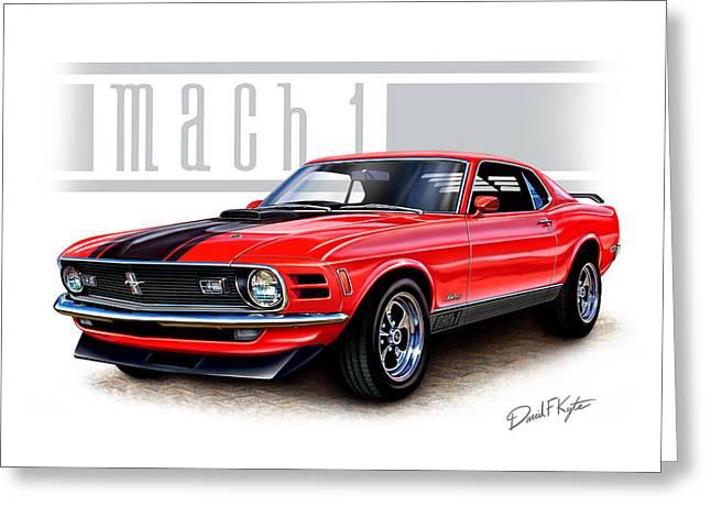 Mach Digital Art Greeting Cards - 1970 Mustang Mach 1 Red Greeting Card by David Kyte