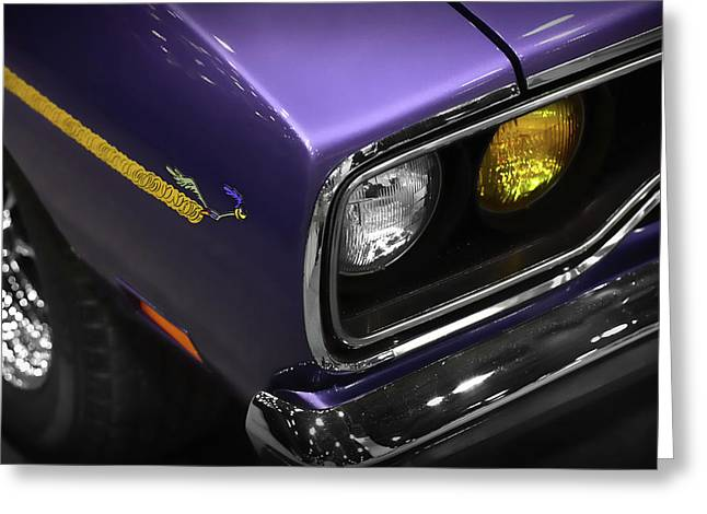 Stock Muscle Photos Greeting Cards - 1970 Plum Crazy Purple Road Runner Greeting Card by Gordon Dean II