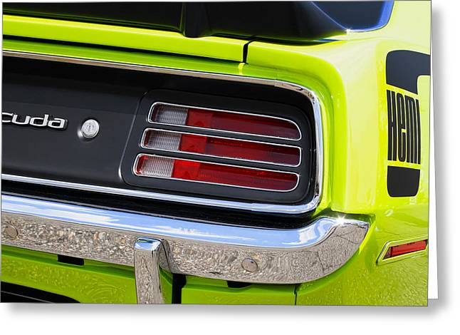 Spoiler Greeting Cards - 1970 Sublime Green HEMI Cuda  Greeting Card by Gordon Dean II