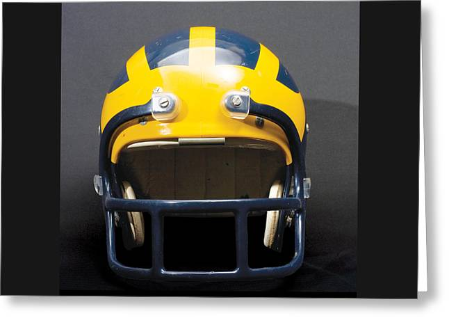 Greeting Card featuring the photograph 1970s Wolverine Helmet by Michigan Helmet