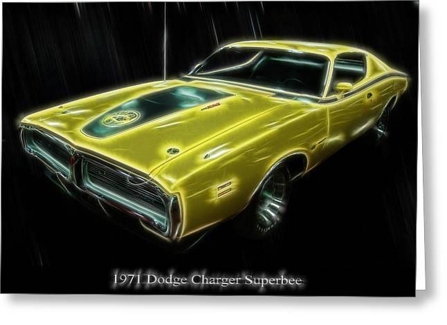 1971 Dodge Charger Superbee - Electric Greeting Card by Chris Flees