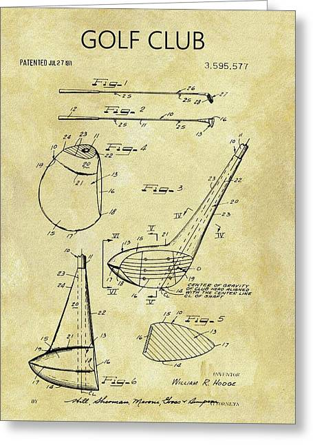 1971 Golf Club Patent Greeting Card by Dan Sproul