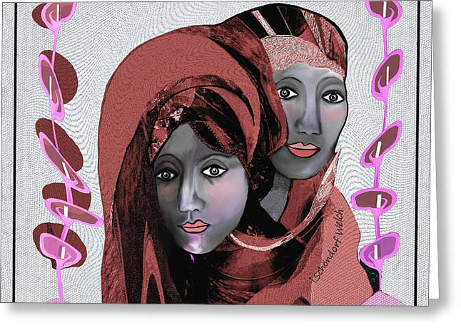Greeting Card featuring the digital art 1971- Rosecoloured Portrait 2017 by Irmgard Schoendorf Welch