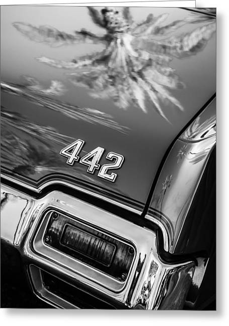 1971 Oldsmobile 442 Convertible Taillight Emblem -0445bw Greeting Card
