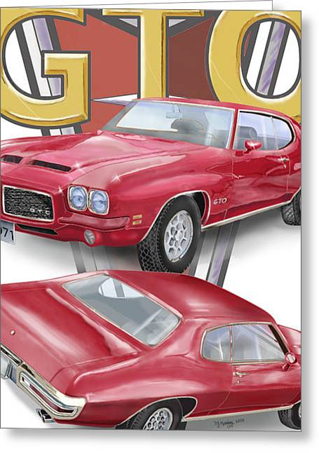 Greeting Card featuring the digital art 1971 Pontiac Gto by Thomas J Herring