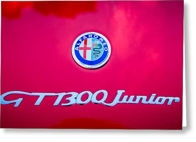 1972 Alfa Romeo Gt 1300 Junior Unificato Emblem -0875c Greeting Card by Jill Reger