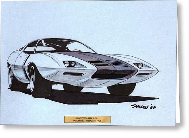1972 Barracuda  Cuda Plymouth Vintage Styling Design Concept Sketch  Greeting Card by John Samsen