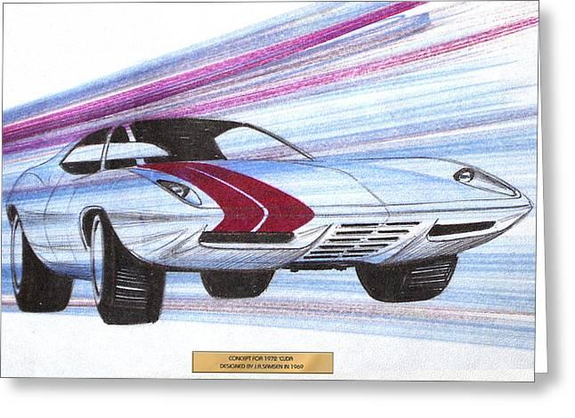 1972 Barracuda  Vintage Styling Design Concept Sketch Greeting Card by John Samsen