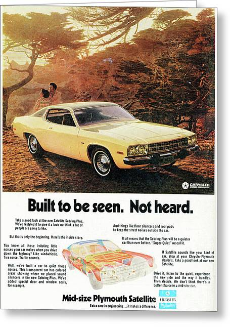 1972 Mid-size Plymouth Satellite Vintage Car Ad Greeting Card by Edward Fielding
